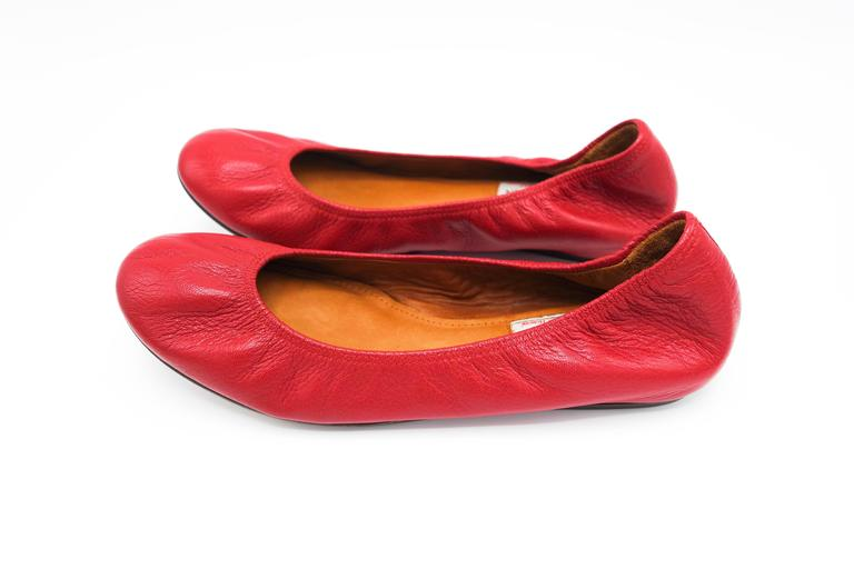 Lanvin Rouge Red Leather Ballet Flats 37.5 6