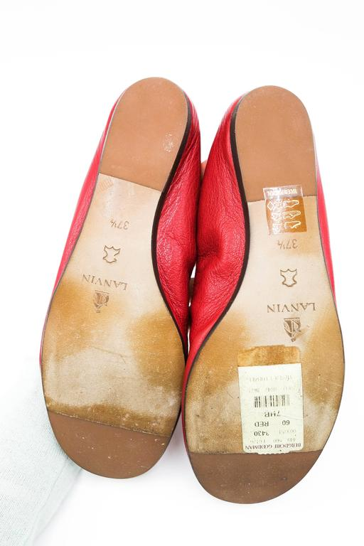 Lanvin Rouge Red Leather Ballet Flats 37.5 7