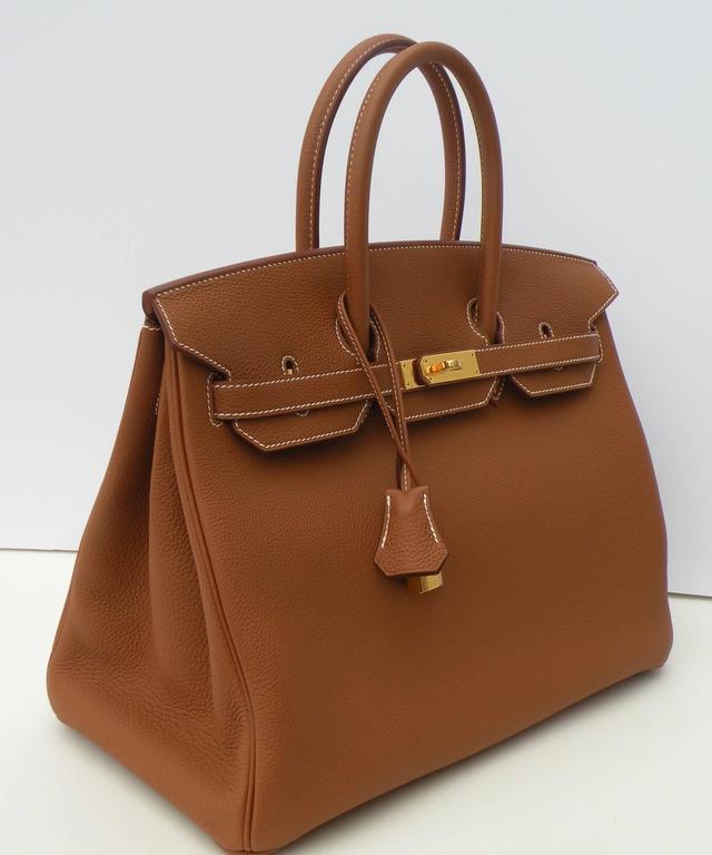 Hermes Birkin Bag 35cm Gold Togo Gold Hardware Horseshoe  2