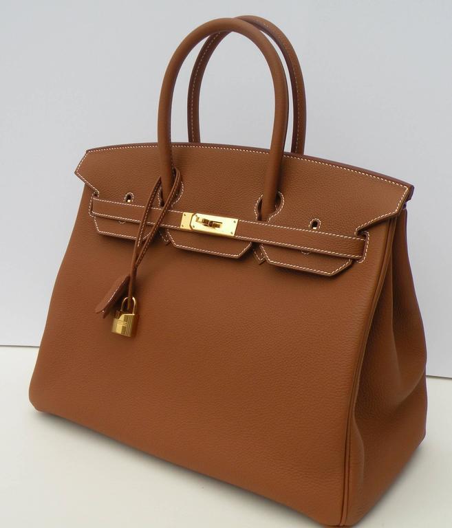 Hermes Birkin Bag 35cm Gold Togo Gold Hardware Horseshoe  4