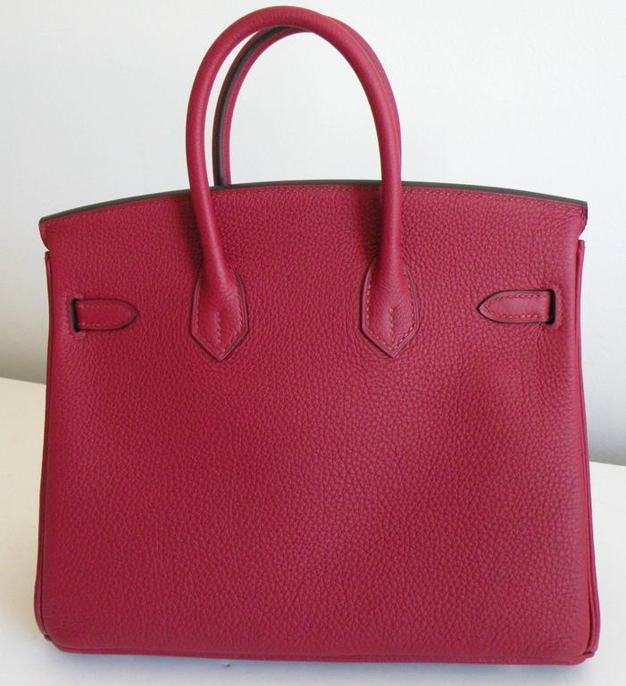 Hermes Birkin Bag 25cm Rouge Grenat Red Togo Gold Hardware 2