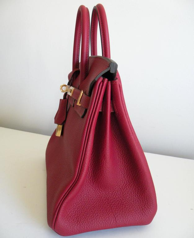 Hermes Birkin Bag 25cm Rouge Grenat Red Togo Gold Hardware 3
