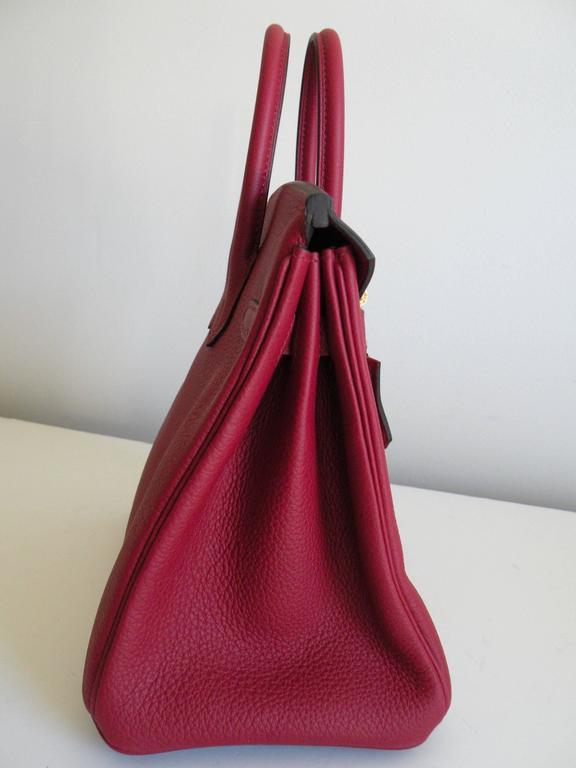 Hermes Birkin Bag 25cm Rouge Grenat Red Togo Gold Hardware 4