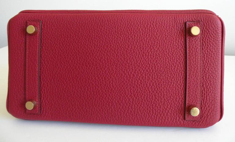 Hermes Birkin Bag 25cm Rouge Grenat Red Togo Gold Hardware 5