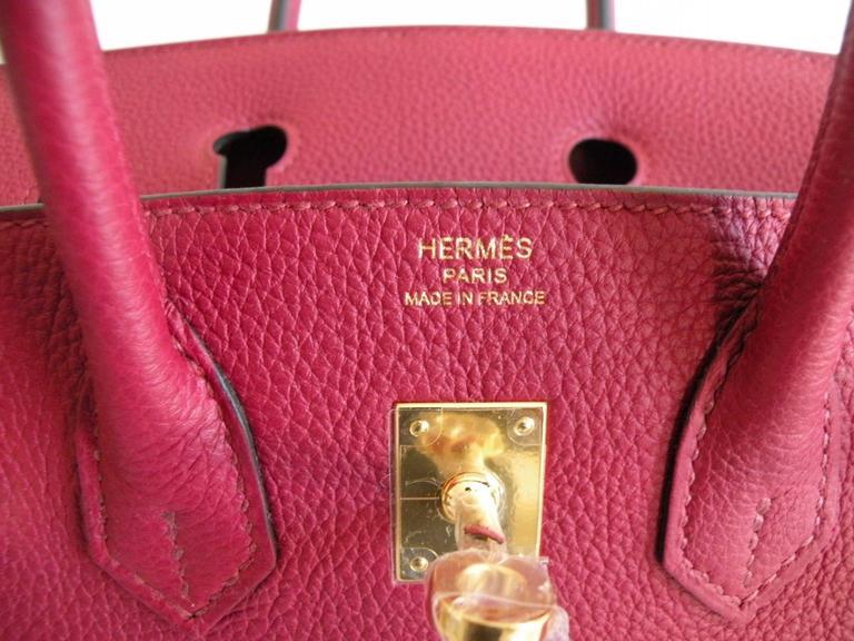 Hermes Birkin Bag 25cm Rouge Grenat Red Togo Gold Hardware 6