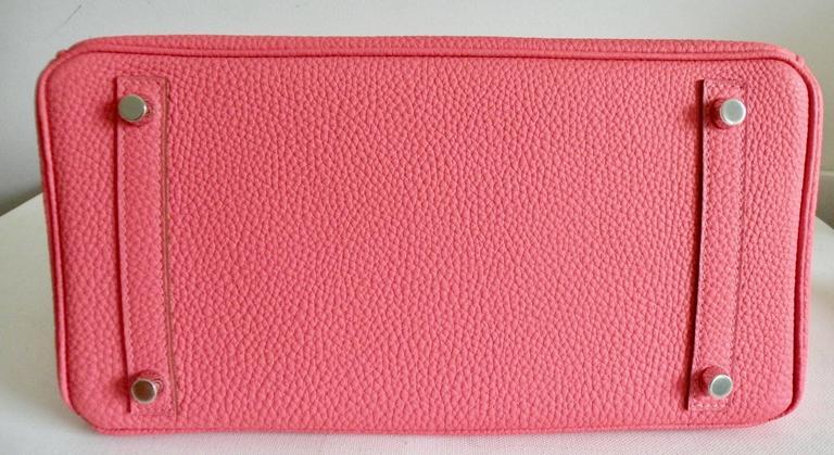 Hermes Rose Lipstick Birkin 30cm Togo Palladium Hardware 5