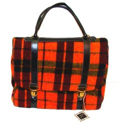 Stunning Oversized Orange Plaid Purse Expanding Satchel w/Matching Clutch RARE