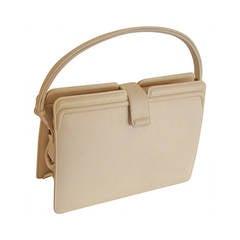 Spring!  Structured Cream Calfskin Kelly/Shoulder Bag by Rosenstein