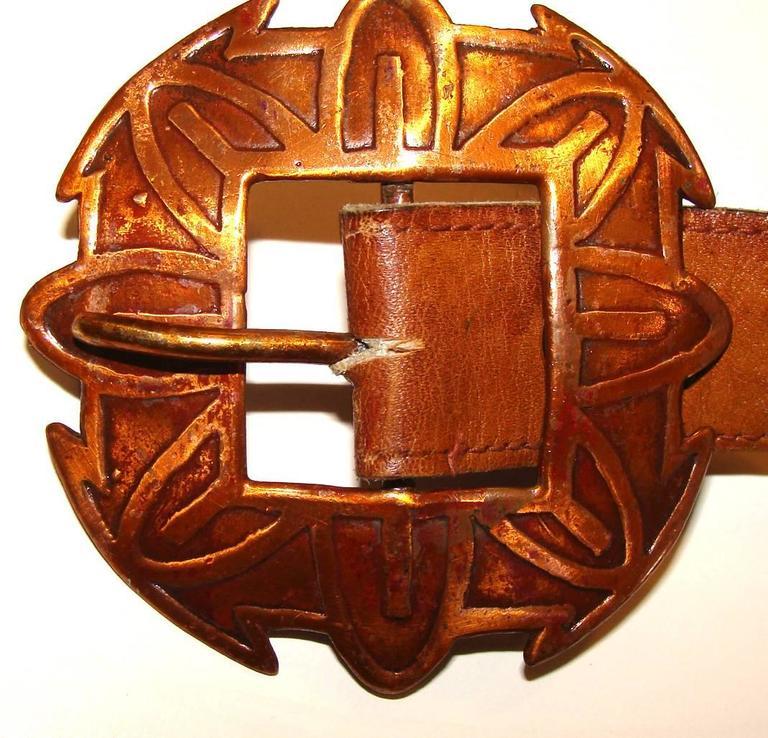 Unusual Concho Belt With Figural Copper Conchos