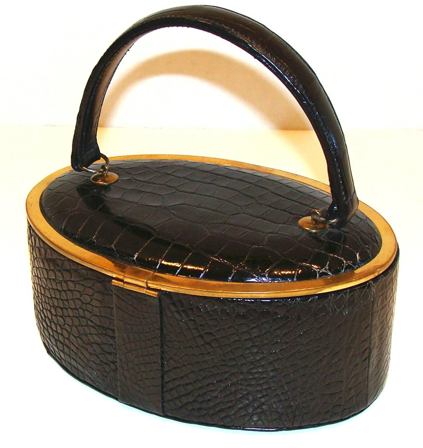 1stdibs Rare Alligator Oval Box Purse With Mirror