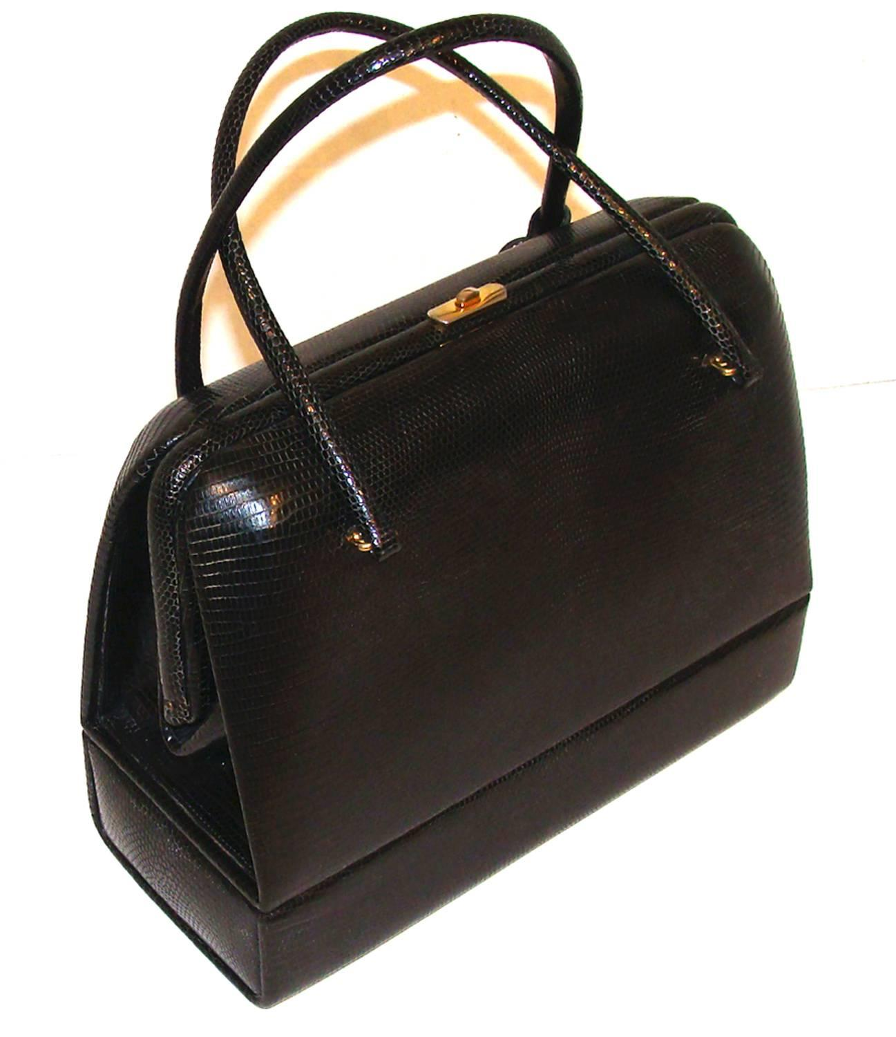 1stdibs Exquisite Black Lizard Bag With Jewelry Case (sac Mallette) With Key cqzkks