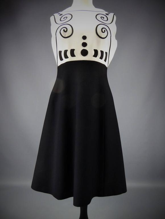 Black Louis Féraud At Rembrandt Dress, Circa 1980 For Sale