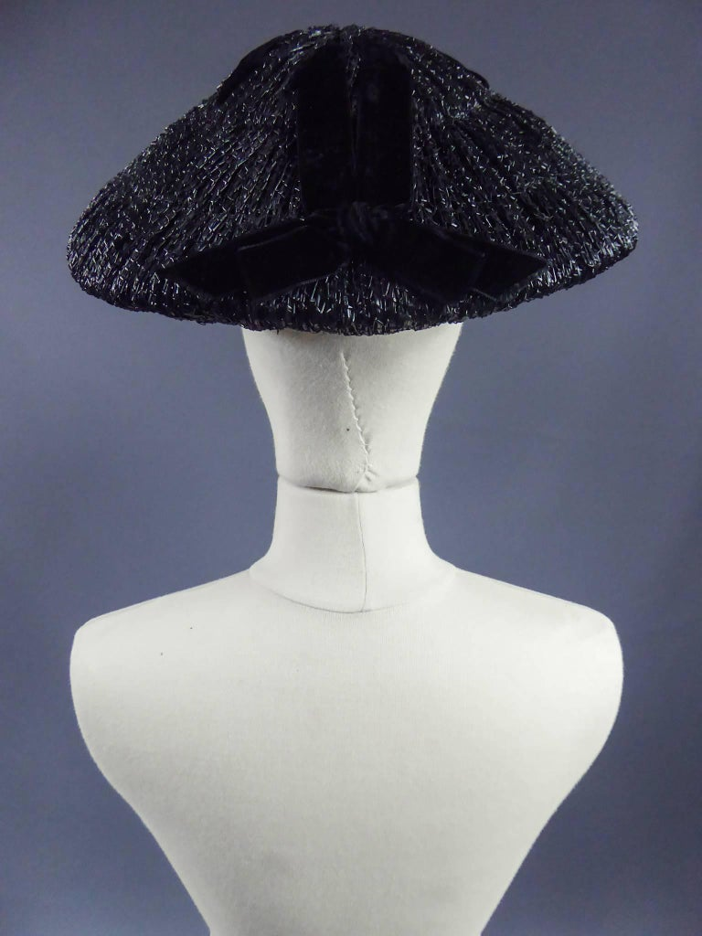 Black Dior Bar Suit Hat, Circa 1947 For Sale