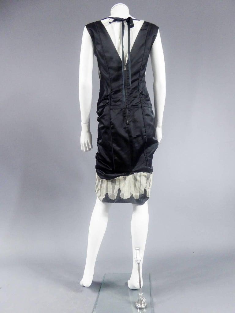 Marc Jacobs Black Waxed Satin Dress Circa 2000 For Sale