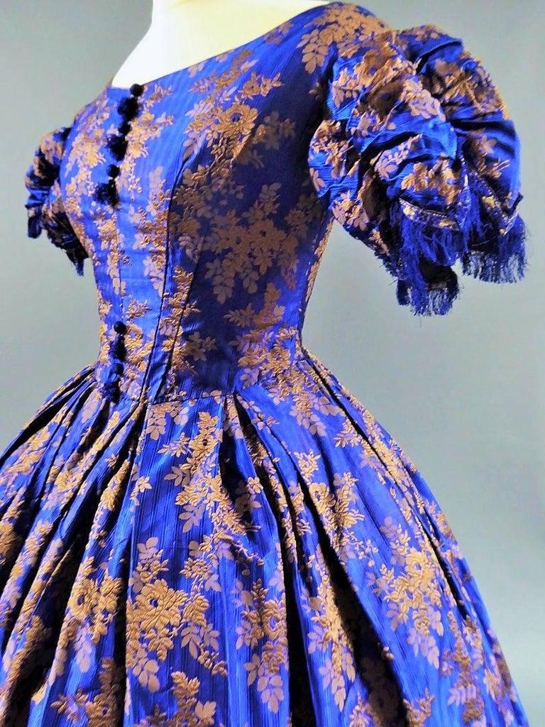Deep Blue Brocaded Silk Crinoline Ball Gown Circa 1850