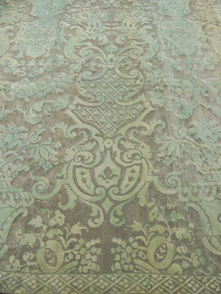 Circa 1920/1930 Italy  Huge pair of complete curtains printed with light green and silver tones from the famous Venetian designer, Mariano Fortuny, from the Art Deco period. Block Printing on twill cotton and glazed with patterns inspired by the