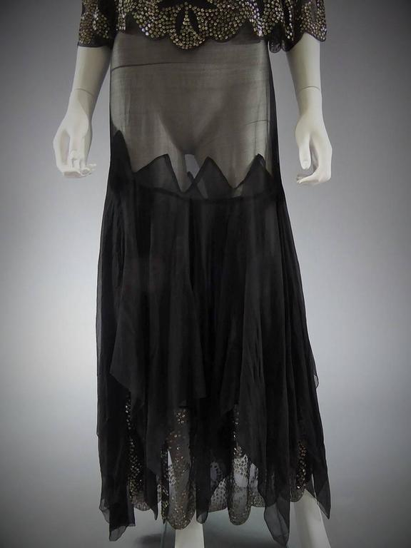 Black Silk Gauze Dress With Embroidered Silver Sequins