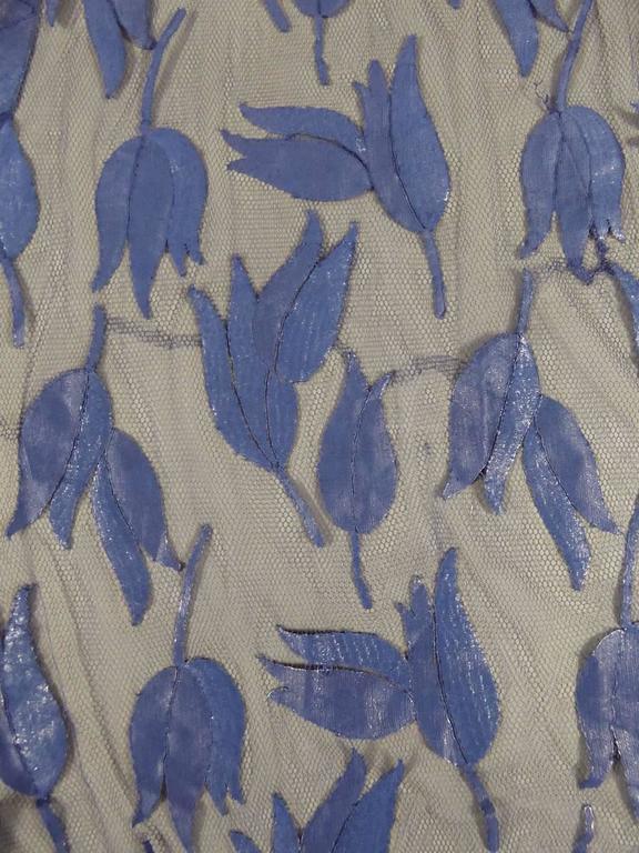 Women's Deep Blue Applique Net Couture Dress 1930/1940 For Sale