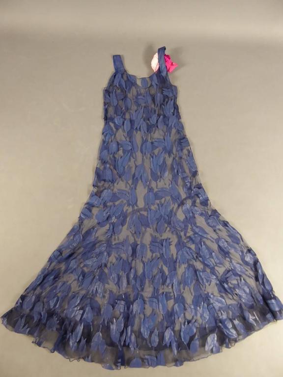 Deep Blue Applique Net Couture Dress 1930/1940 For Sale 1