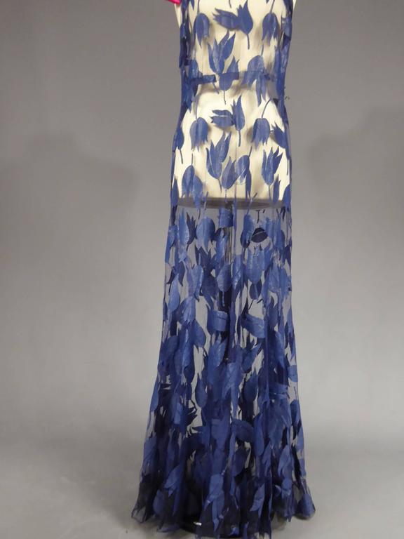 Deep Blue Applique Net Couture Dress 1930/1940 For Sale 2