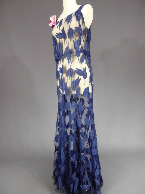 Deep Blue Applique Net Couture Dress 1930/1940 For Sale 3
