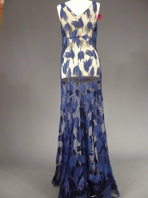 Deep Blue Applique Net Couture Dress 1930/1940 For Sale 4