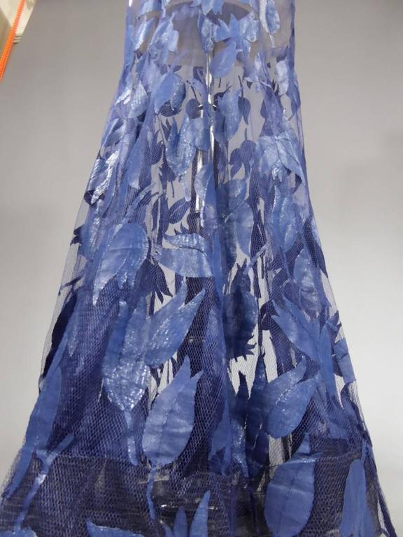 Deep Blue Applique Net Couture Dress 1930/1940 For Sale 5