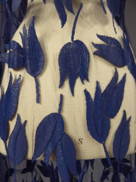 Deep Blue Applique Net Couture Dress 1930/1940 For Sale 6