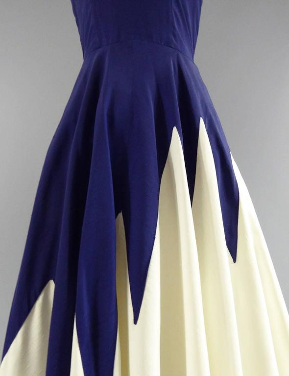 Henry à la Pensée Dress, circa 1950 In Good Condition For Sale In Toulon, FR