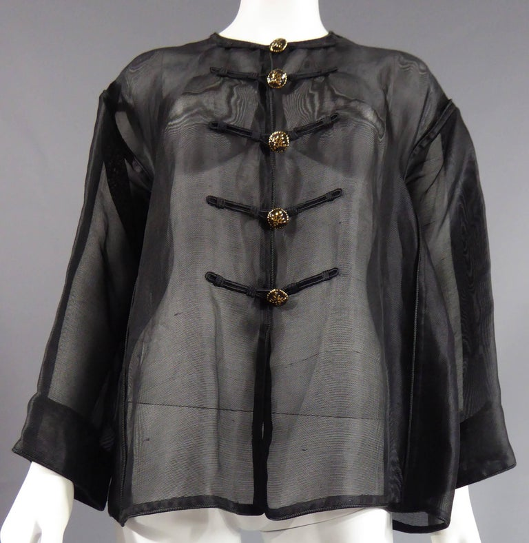 Black Yves Saint Laurent Rive Gauche Blouse Chinese Collection, Circa 1980 For Sale