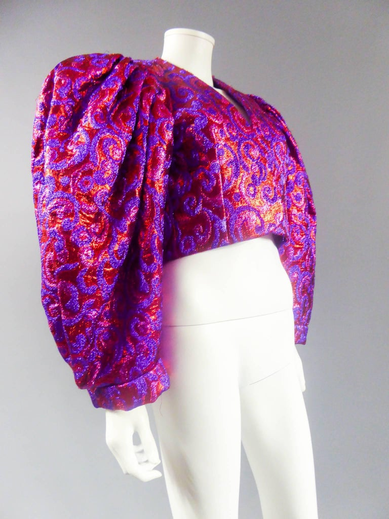 Purple Yves Saint Laurent Haute Couture Boléro, Winter 1989 For Sale