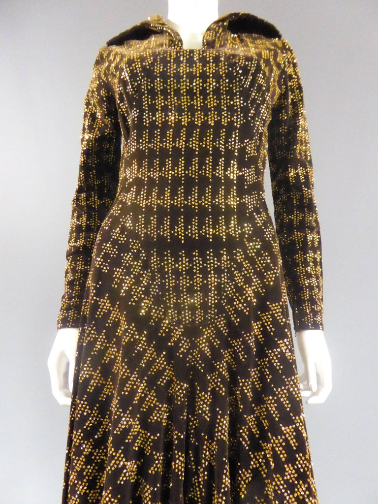 Brown Carven Long Velvet Dress, Circa 1975 For Sale