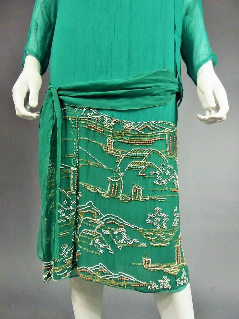 Women's Japanese Art Deco embroidered silk crepe Haute Couture Dress France, Circa 1925 For Sale