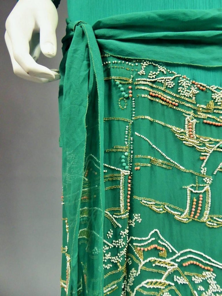 Japanese Art Deco embroidered silk crepe Haute Couture Dress France, Circa 1925 For Sale 1