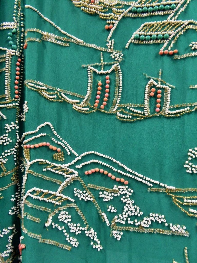 Japanese Art Deco embroidered silk crepe Haute Couture Dress France, Circa 1925 For Sale 2