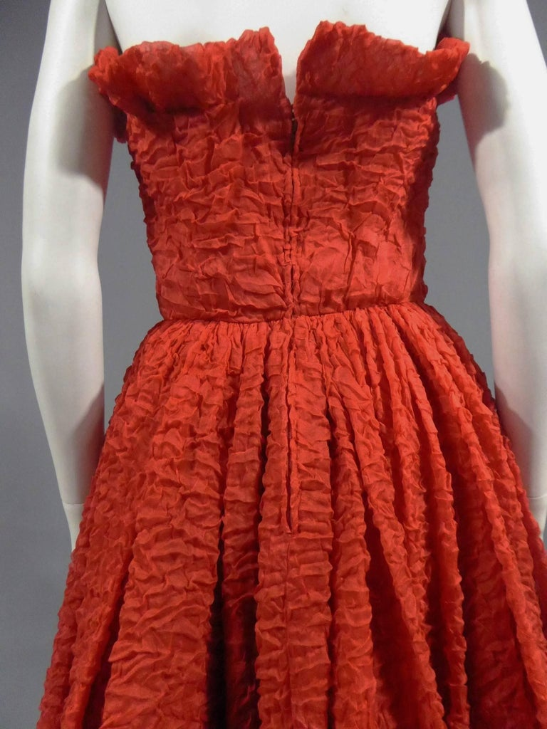 Women's Pierre Cardin Haute Couture Red Silk strapless cocktail dress, Circa 1980 For Sale