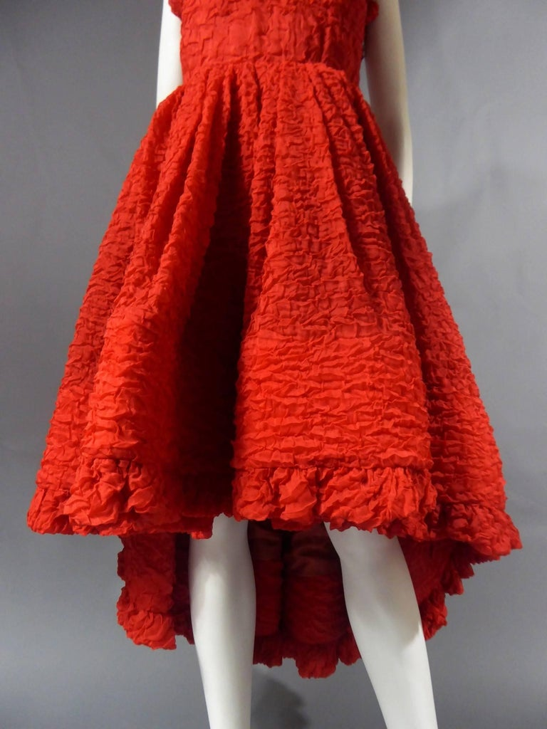 Pierre Cardin Haute Couture Red Silk strapless cocktail dress, Circa 1980 For Sale 3