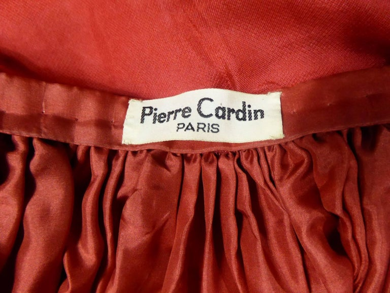 Pierre Cardin Haute Couture Red Silk strapless cocktail dress, Circa 1980 For Sale 6