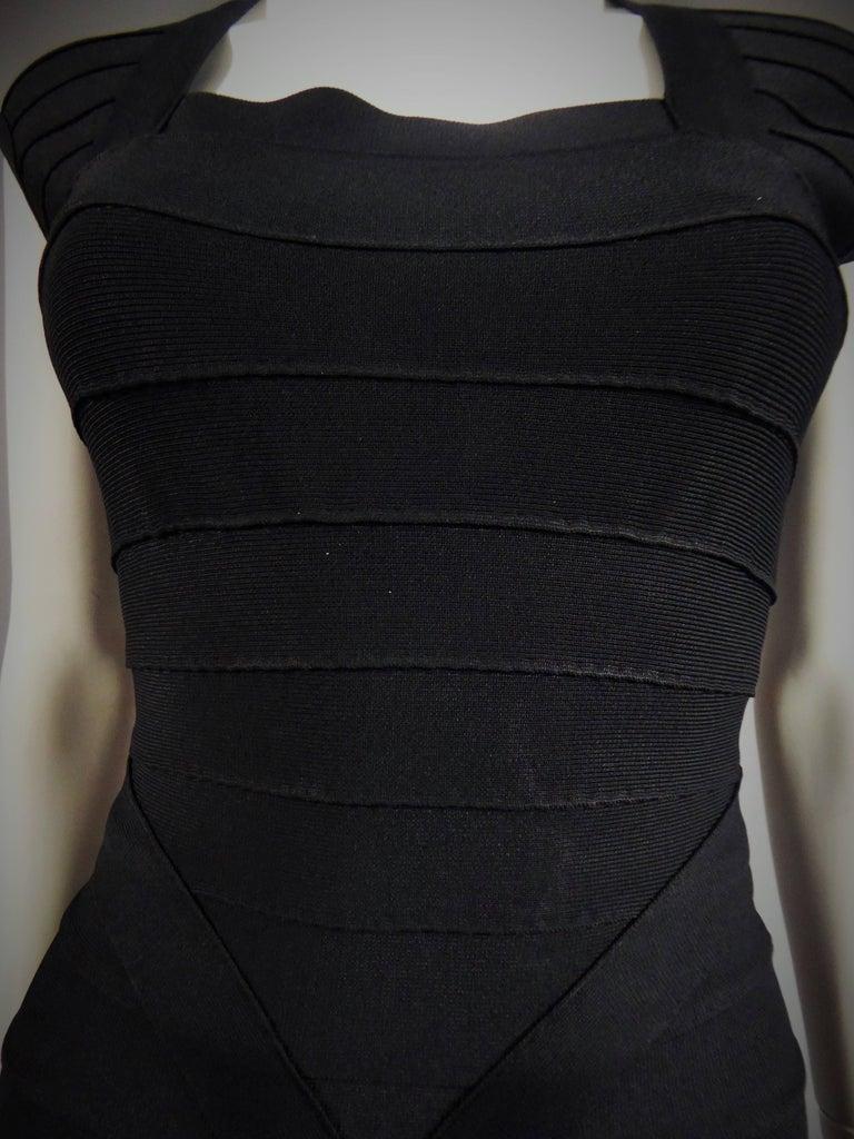 Black Hervé Léger Couture Dress For Sale