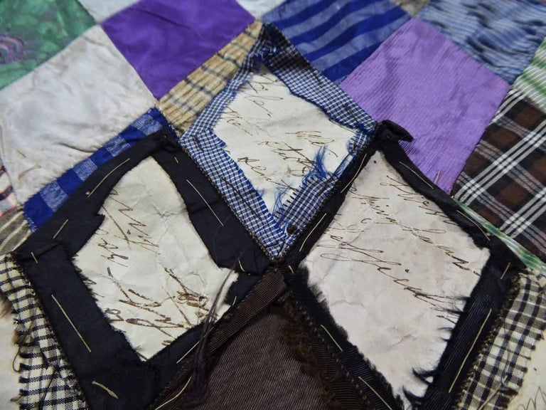 Gray Patchwork Silk and Paper, 19th Century Canada For Sale