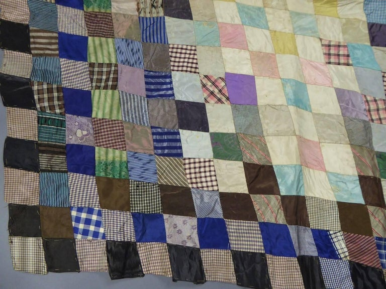 Patchwork Silk and Paper, 19th Century Canada In Good Condition For Sale In Toulon, FR