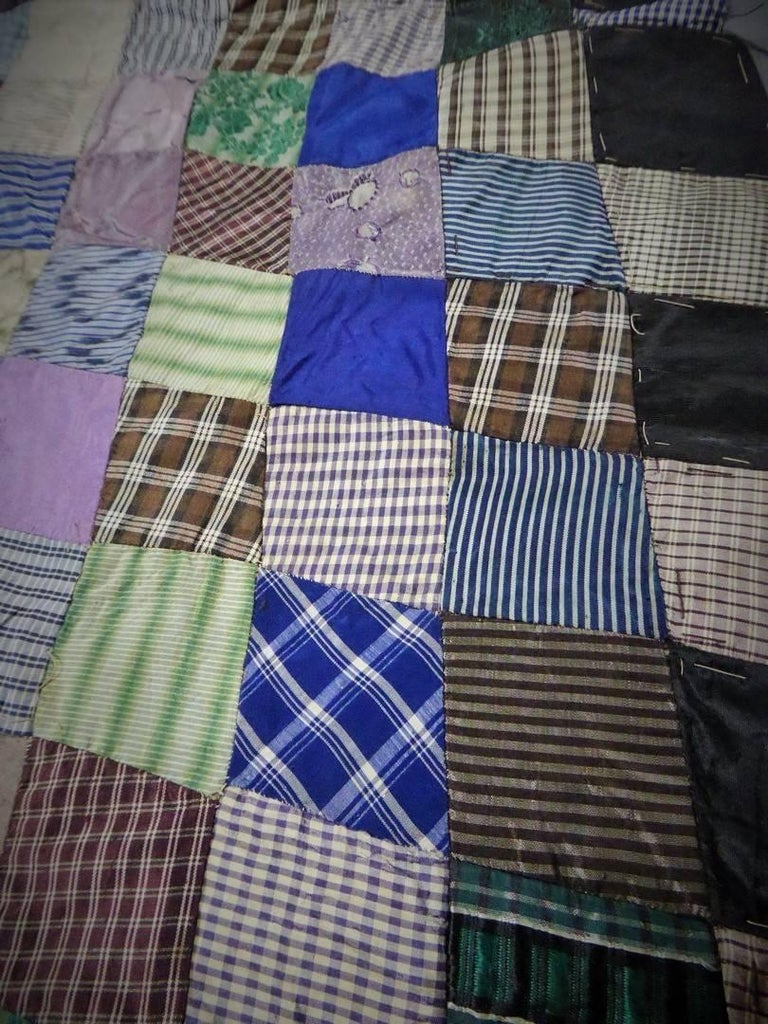 Women's or Men's Patchwork Silk and Paper, 19th Century Canada For Sale