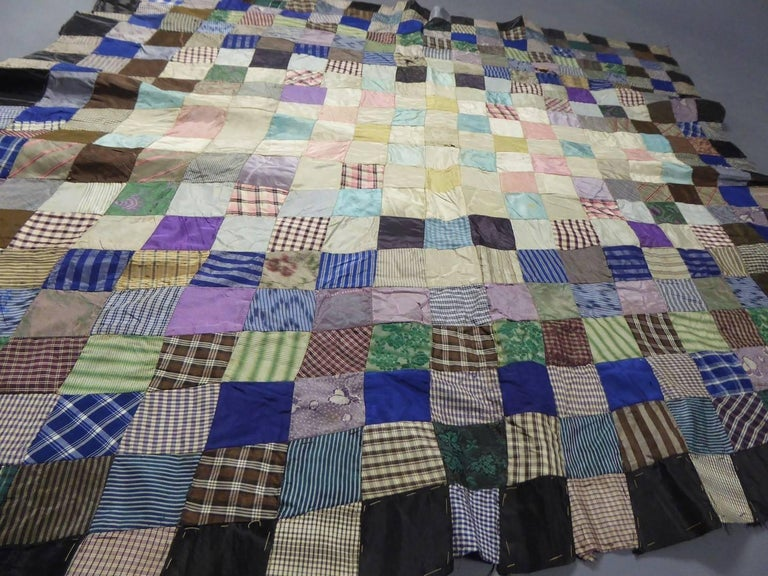 Patchwork Silk and Paper, 19th Century Canada For Sale 1