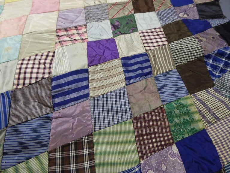 Patchwork Silk and Paper, 19th Century Canada For Sale 2