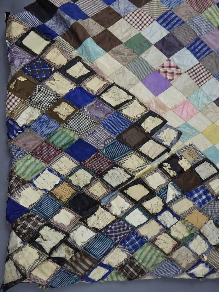 Patchwork Silk and Paper, 19th Century Canada For Sale 3