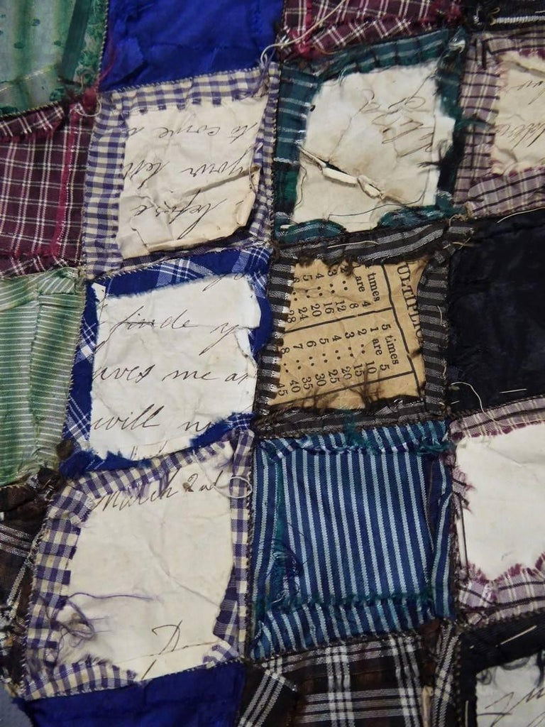 Patchwork Silk and Paper, 19th Century Canada For Sale 4
