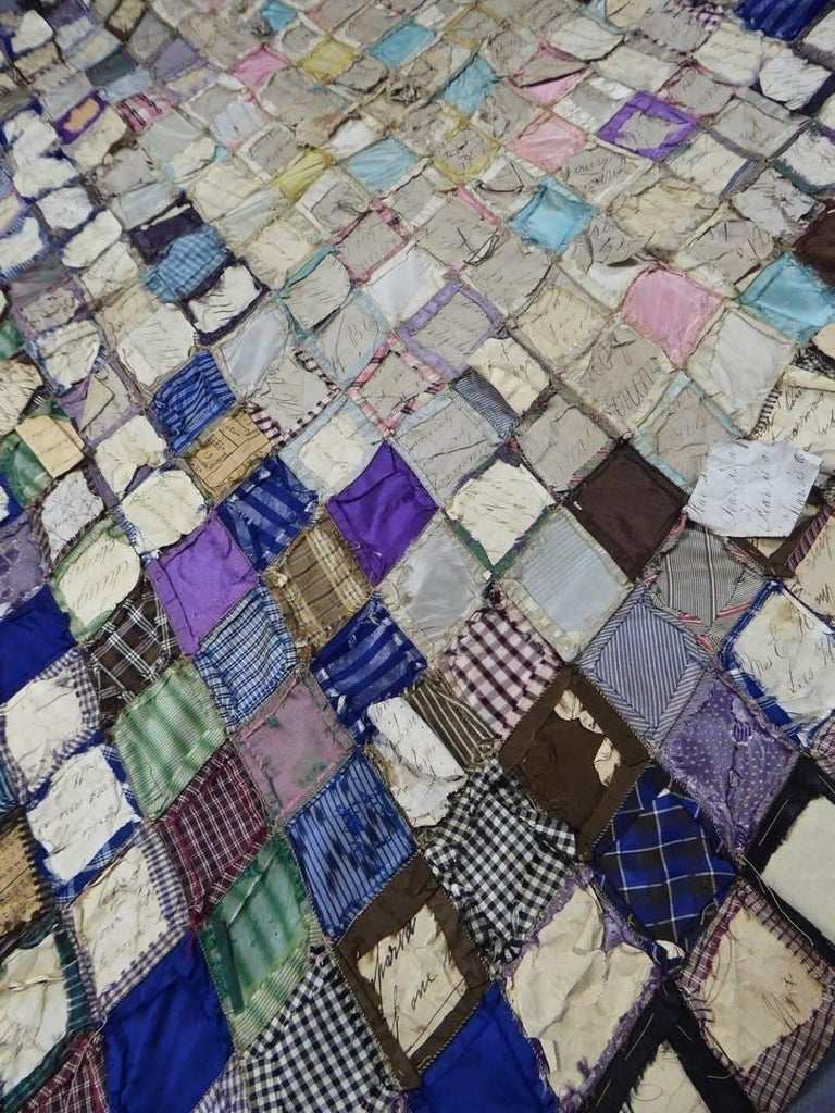 Patchwork Silk and Paper, 19th Century Canada For Sale 5