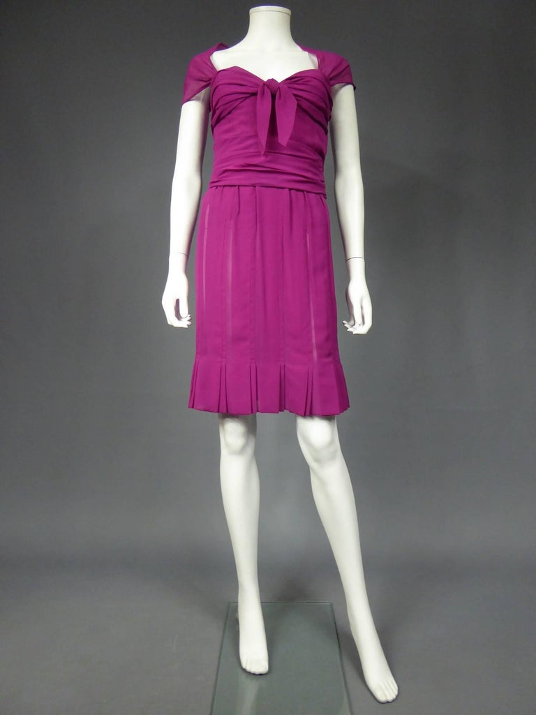 Pink Christian Dior Haute Couture in pink chiffon silk dress, Circa 1989 - 1990 For Sale