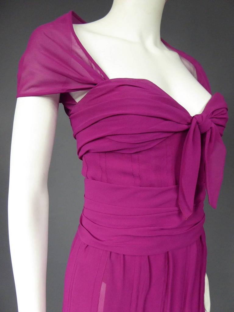 Women's Christian Dior Haute Couture in pink chiffon silk dress, Circa 1989 - 1990 For Sale