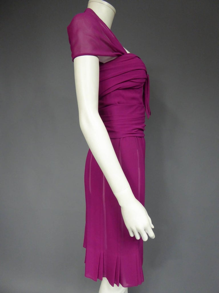 Christian Dior Haute Couture in pink chiffon silk dress, Circa 1989 - 1990 For Sale 1